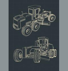 Grader blueprints vector