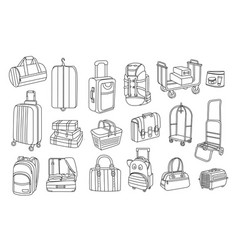 Hand drawn of bags and baggage carts vector
