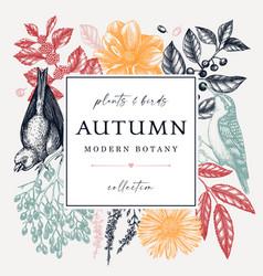 Hand-sketched autumn wreath design with birds vector