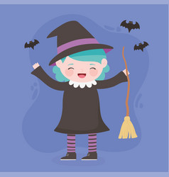 happy halloween costume character girl witch vector image