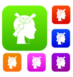 head with arrows set color collection vector image