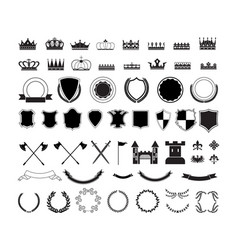 heraldic symbols - shields crowns and wreaths vector image