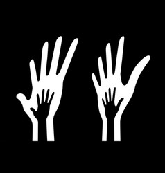 Icon big hand and small hand in perspective set vector