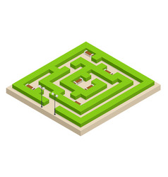 Isometric green plant maze city park and outdoor vector
