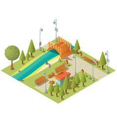 isometric landscape city green park vector image