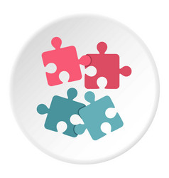 Jigsaw puzzles icon circle vector