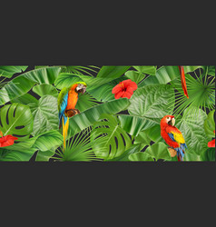 jungle leaves and parrots seamless pattern 3d vector image