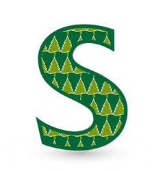Letter s christmas festive font icon vector
