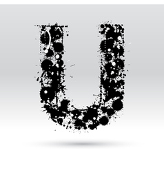 Letter U formed by inkblots vector
