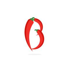 Logo red chili pepper letter b vector