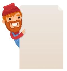 Lumberjack looking at blank poster vector image
