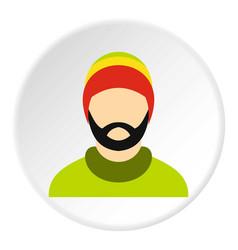 Man wearing rastafarian hat icon circle vector