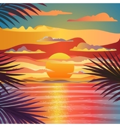 Marine sunset landscape vector