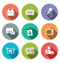 Media flat icon set vector