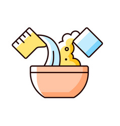 Mixing cooking ingredient rgb color icon vector