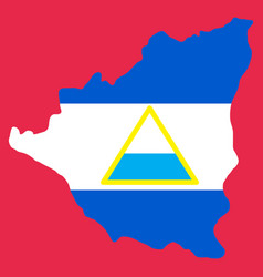 Nicaragua map flag with shadow on white vector