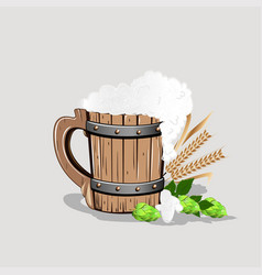 old wooden mug of beer vector image