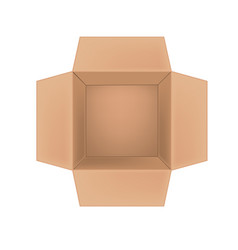 open corrugated cardboard box on white background vector image