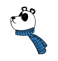 panda bear christmas cartoon with scarf vector image
