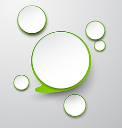 Paper white-green round speech bubbles vector