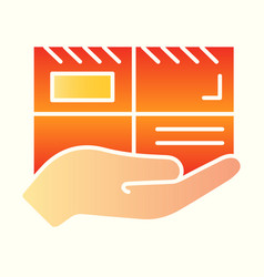 parcel line icon mail delivery hand holding vector image