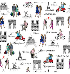 Paris sightseeings and people vector