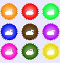 Partly Cloudy icon sign Big set of colorful vector image