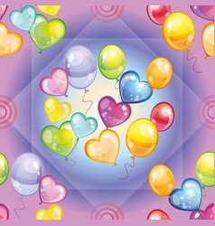 Pattern with colorful balloons on purple vector