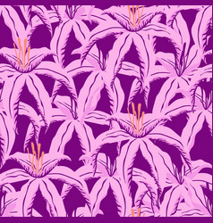 Pattern with purple tropical flowers vector