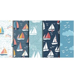 patterns marine bundle vector image