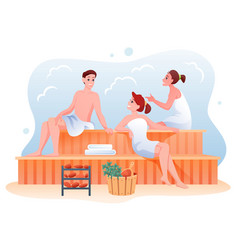 people relax in sauna cartoon happy man woman vector image