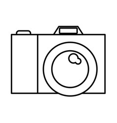 photo camera icon in black contour vector image
