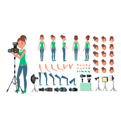 Photographer woman taking pictures vector
