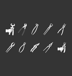 pliers icon set grey vector image