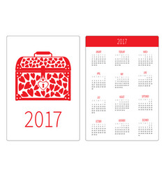 Pocket calendar 2017 year week starts sunday vector