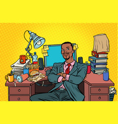 pop art african businessman workplace vector image