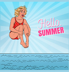 Pop art happy woman jumping into the sea vector