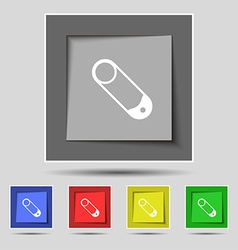 Pushpin icon sign on original five colored buttons vector