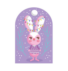 rabbit with lights tangled in ears branch snow vector image
