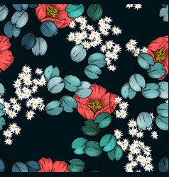 realistic isolated seamless flowers pattern vector image