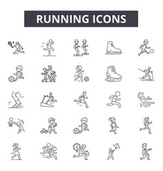runninig line icons signs set outline vector image