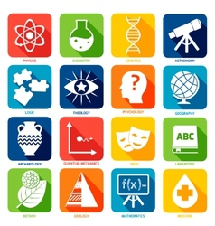 Science Areas Icons vector image
