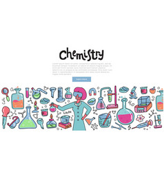 scientist woman with a chemistry glass explaining vector image