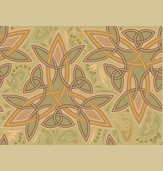 Seamless ethnic pattern with trickle and celtic vector