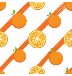 seamless pattern with orange fruit vector image