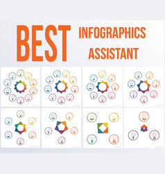 set colourful modern infographics 10 9 8 7 6 5 4 vector image