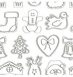 set gingerbread cookies pattern vector image
