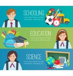 Set horizontal banners with school supplies and vector image