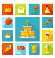 Set of flat birthday party icons Holiday wedding vector image