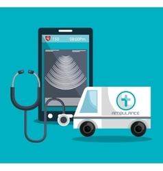 set smartphone services medical isolated vector image